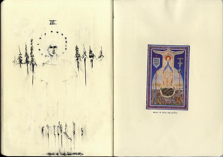 Mary Archetype Sketchbook Drawing Collage