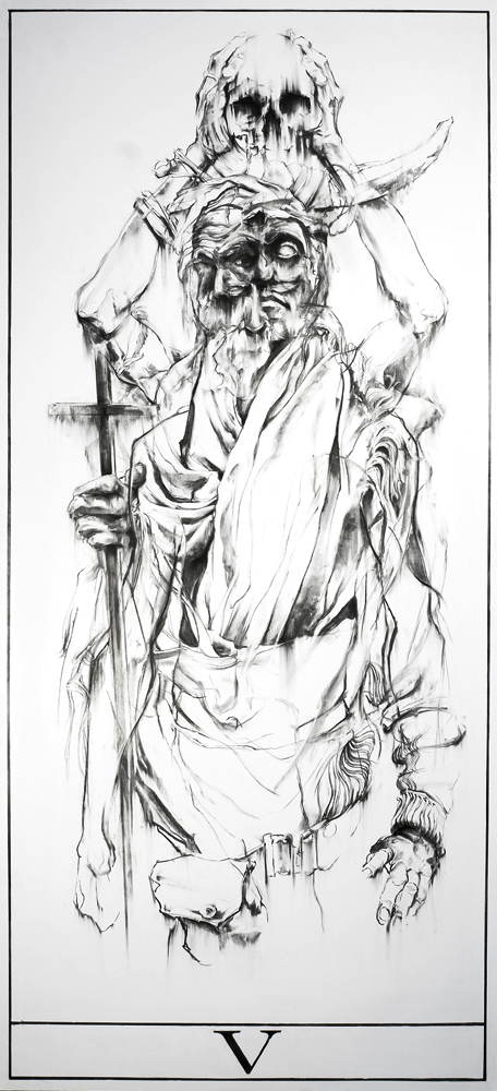 The Preacher Tarot Card Charcoal Drawing