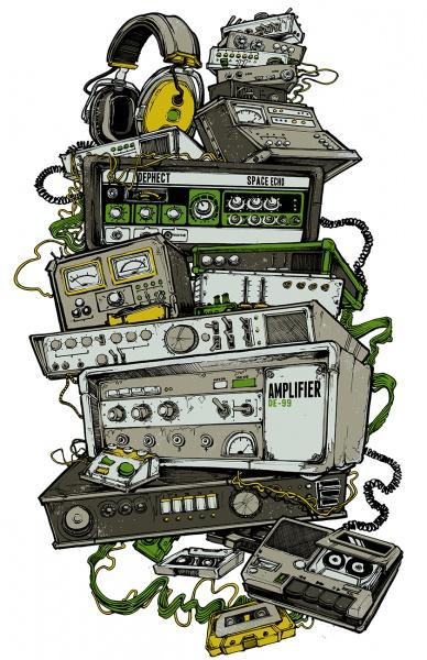 Dephect synths analogue illustration t shirt