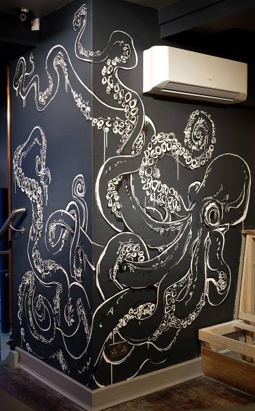 Southbank restaurant bar mural drawing 5