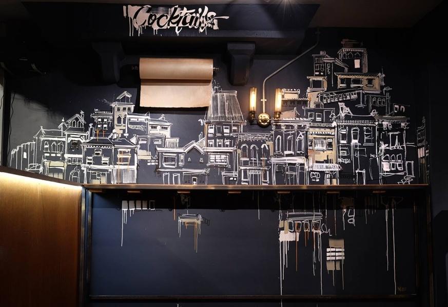 Southbank restaurant bar mural drawing