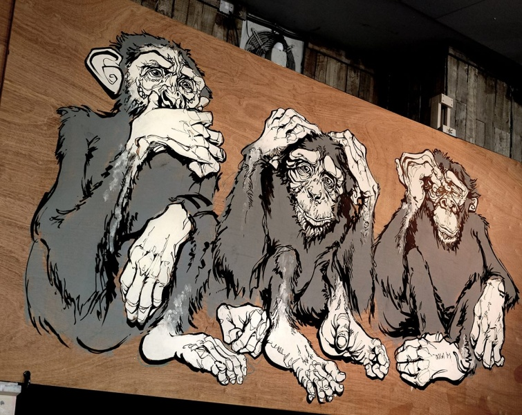 See No Evil Live Drawing Painting Mural