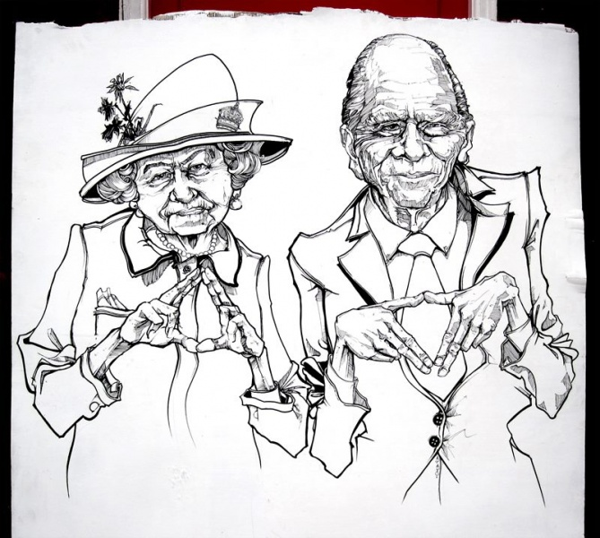 Royal Family Illuminati Live Drawing Illustration